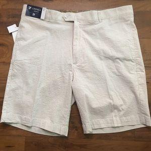 """Cremieux Tan Striped Seersucker 9"""" Golf Shorts"""